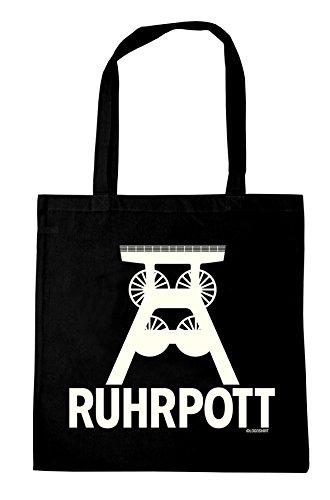 Logoshirt Ruhrpott - Wahrzeichen Baumwolltasche - Stofftasche mit Druck und langen Tragegriffen - schwarz