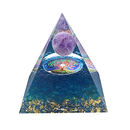 PAKEY Orgone Pendant Pyramid,EMF Protection Meditation Yoga Energy Generator,Raw Multi Color Tourmaline Crystal Healing Pendant Stone,Positive Energy Generator Orgonite Pyramid-No.2