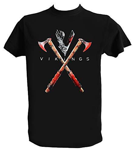 Desconocido Camiseta Vikings Hombre Niño Ragnar Lothbrok Serie Vikingos, Hombre - S