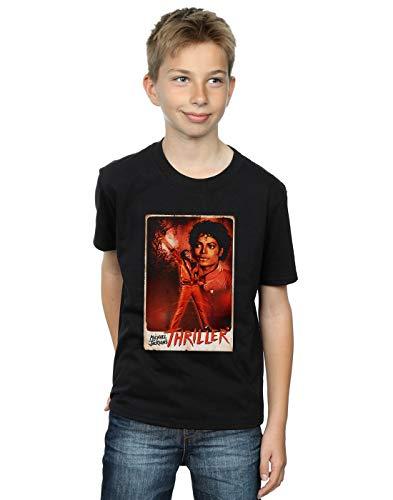 Absolute Cult Michael Jackson Niños Thriller Stance Camiseta Negro 9-11 Years