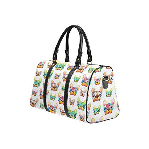 InterestPrint Travel Duffel Bag Waterproof Overnight Bag Weekend Carryon Handbag French Bulldog Sugar Skull Frenchie Cute Dog