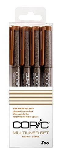 Multiliner Set Sepia, 4 Stifte in 4 verschiedenen Strichstärken, Zeichen-Stifte mit wasser- und alkoholbeständiger Pigmenttinte, für Skizzen, Illustrationen und Outlines