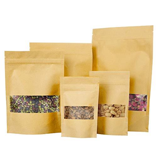 ZWOOS Kraftpapier Zip Tüten, 50 STK Papiertüten Braun Mit Fenster, Papierbeutel Wiederverschließbare Beutel Kraftpapiertüten Zip Beutel von Kaffee, Tee Lebensmittel und Snack