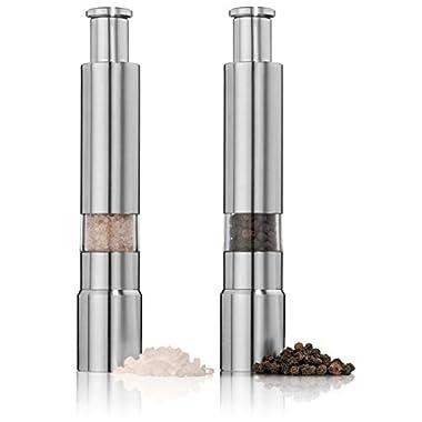 Salt and Pepper Grinder Set. Stainless Steel Salt and Pepper Mills Sleek Design Works Great With Peppercorns, Sea Salt, Himalayan Salt, Spices & Table Seasoning. Mini set of 2.