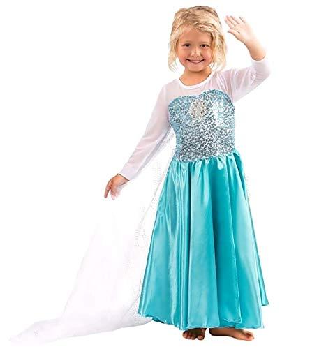 Inception Pro Infinite Größe 100 - 2 - 3 Jahre - Kostüm - Karneval - Halloween - Elsas Mädchen - Blau - Frozen