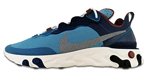Nike React Element 55 RM, Scarpe da Corsa Uomo, Coastal Blue/White-Cerulean-Green Abyss-claystone Red-Sail, 42.5 EU