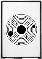 ソーラーシステムウォールアートミニマリストラインペインティングブラックホワイトキャンバス画像北欧のポスターとプリントキッズルームスタディホームデコレーション40x60cmフレームなし