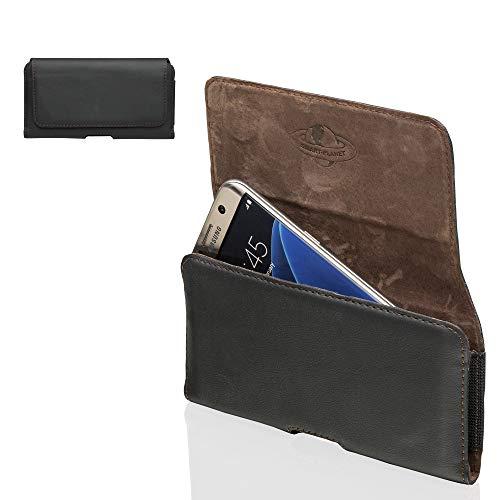 Smart Planet® Design echt lederen mobiele telefoon tas 3XL riemtas compatibel met Huawei Honor 7s 8 9 10 / P20 Lite/Samsung Galaxy A6 XCover 4s - zwart
