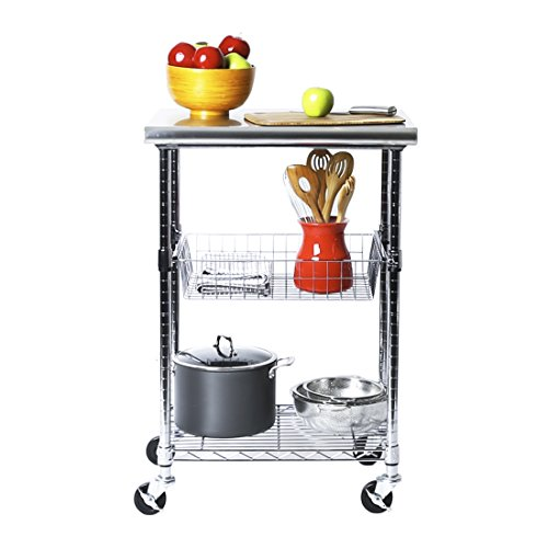 "Seville Classics Stainless-Steel Professional Kitchen Work Table Cart Utility NSF-Certified Storage, 24"" W x 20"" D x 36"" H, Chrome"