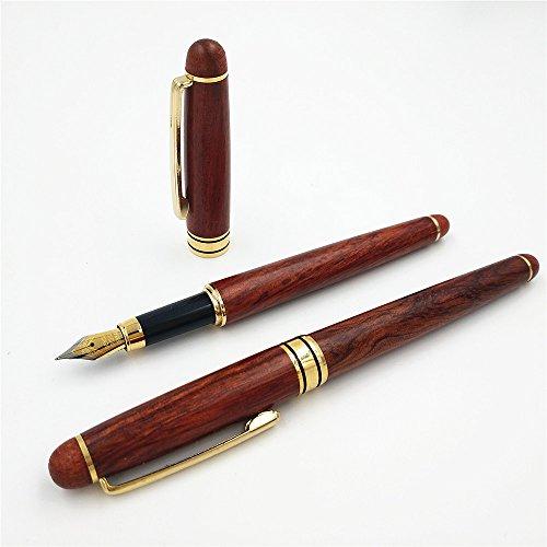 Pluma estilográfica de palisandro de tinta fina que absorbe la punta de iridio de doble uso, 0,7 mm