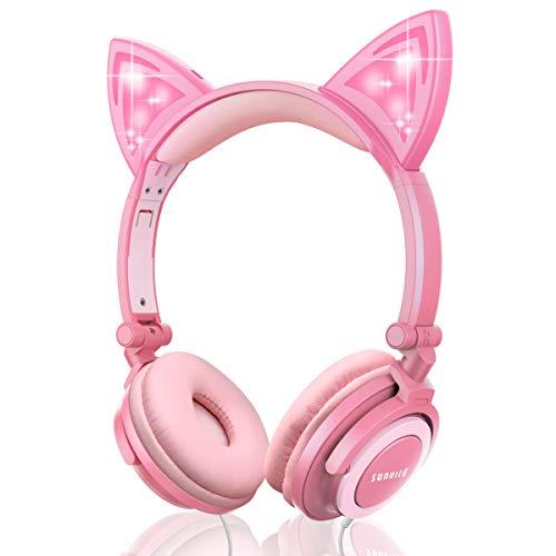 Auriculares Unicornio con Cable para niños,Orejeras con Orejas de Gato Que Brillan intensamente,Headphones Recargables LED luz Headset,Auriculares con Cable para niños de 85dB Volume Limited