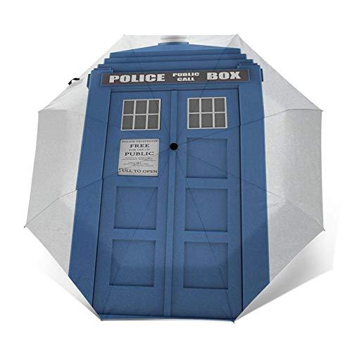 Paraguas Plegable Automático Impermeable Teléfono 738 de Blue House British Landmark, Paraguas De Viaje Compacto a Prueba De Viento, Folding Umbrella, Dosel Reforzado, Mango Ergonómico