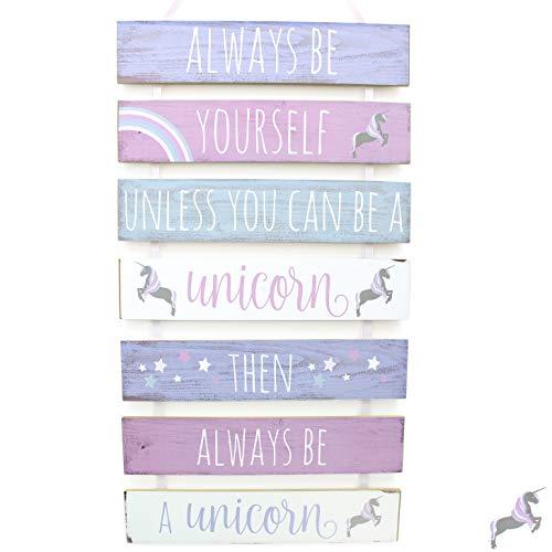 Juego de 7 letreros de madera para colgar, diseño de unicornio con texto en inglés: «Always Be Yourself»