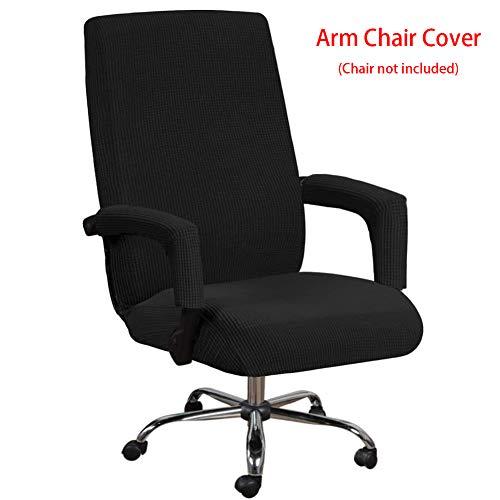 Fundas elásticas para asientos de silla de oficina con funda para reposabrazos, patrón jacquard, respaldo alto, fundas extraíbles y elásticas, para sillón giratorio universal, negro, X-Large