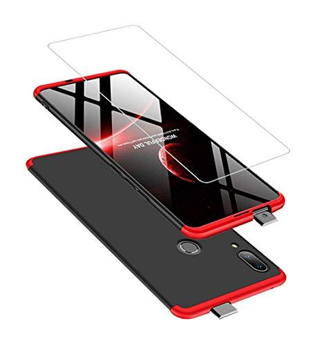 DECHYI kompatibel mit Huawei P Smart Z Hülle, handyhülle + panzerglas 360 Grad Schutz Matte PC Hard Cover Körperschutz Kratzfeste Abdeckung 360°Voll Staubschutz case Rot-Schwarz