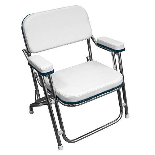 Folding Deck Chair, White with Teal Trim - Wise 3319-5248
