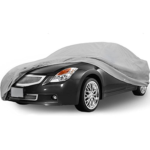 NEH SUPERIOR TRUE 100% WATERPROOF CAR COVER COVERS MID SIZE SEDAN - ALL SEASON PROTECTION - GRAY COLOR - 3x PILLOW SOFT INNER COTTON LAYER (FITS LENGTH 170' - 190')