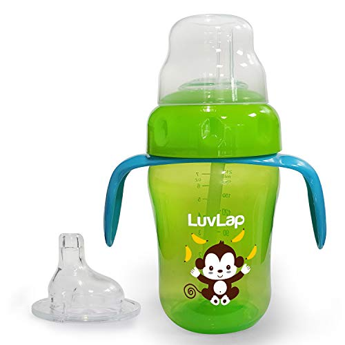 LuvLap Banana Time 210ml Anti Spill, Interchangeable Sipper / Sippy Cup with Soft Silicone Spout and Straw, 6m+ (Green)