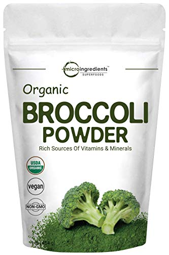 Micro Ingredients Organic Broccoli Extract Powder, 1 Pound (454g), Rich in Fiber, Immune Vitamin C and Flavonoids, Green Superfood for Smoothie, Drinks and Support Immune System, Vegan Friendly