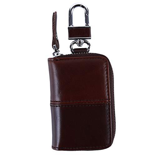 Bigsweety Brown Retro Autoschlüsselhalter Pu Auto Smart Keychain Münze Keyfob Wallet (Nähen)