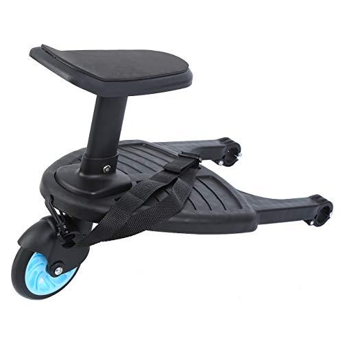 Honhill Mini Buggy Board con asiento Cochecito para el Segundo niño Pedal Auxiliar Conector extraíble Asiento y montaje (azul)