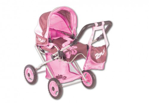 Puppenwagen mit Tasche pink-braun, ab 3 Jahren, L 75 x B 41