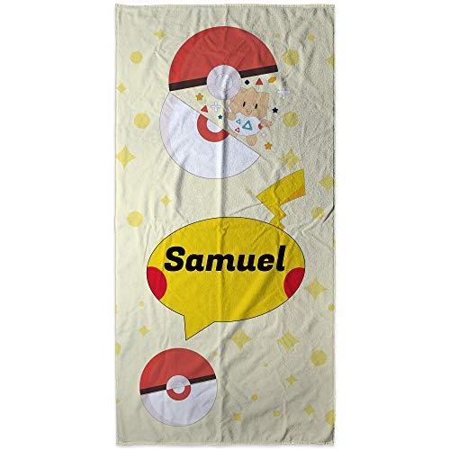 LolaPix Personalisiertes Pokémon-Handtuch mit Name/Text. Personalisierte Geschenke. Personalisierte Strandtücher. Verschiedene Designs. Pokemon