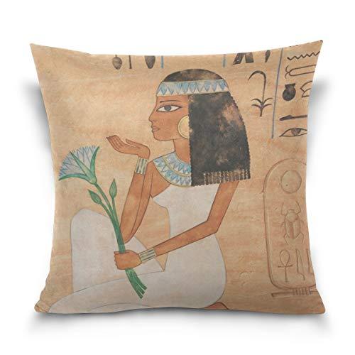 suabo Ägyptische Wandmalerei Print Muster Baumwolle Samt dekorativer Überwurf-Kissenbezug 50,8x 50,8cm, 50 % Baumwolle, 50 % Polyester, Design 5, 45,7 x 45,7 cm