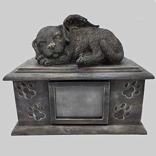 Große Hunde Urne grau als Hunde-Engelfigur mit Bildfach, Tierurne
