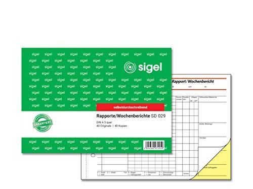 SIGEL SD029 Rapport / Wochenbericht A5 quer, 2x40 Blatt, selbstdurchschreibend, 1 Stück