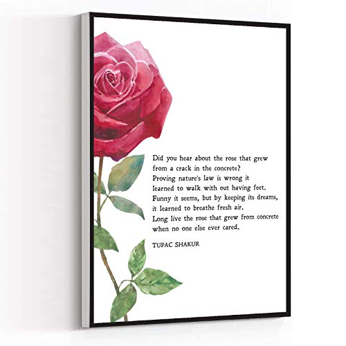 WALL ART,The Rose That Grew from Concrete,Tupac Shakur,Poem,Motivation,Inspiration,Print,Wall Art,Minimalist,Quote,INSTANT DOWNLOAD,12'x18'Framed Modern Canvas Wall Art,