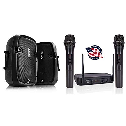 Wireless Portable PA Speaker System - 1000W High Powered Bluetooth Compatible Active + Passive Pair Outdoor Sound Speakers & Channel Microphone System-VHF Fixed Dual Frequency Wireless Set