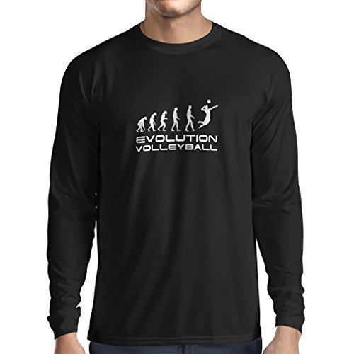 lepni.me T-Shirt Manches Longues Homme L'histoire et l'évolution du Jeu de Volleyball (Small Noir Blanc)