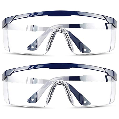 DJM 4.0 Safety Glasses Goggles with Clear Scratch Resistant Side Shields Protective Eyeware Glasses Anti Spatter Impact Goggles Over Glasses UV Protection Lens for Daily Use Work Lab Nurse (Blue)