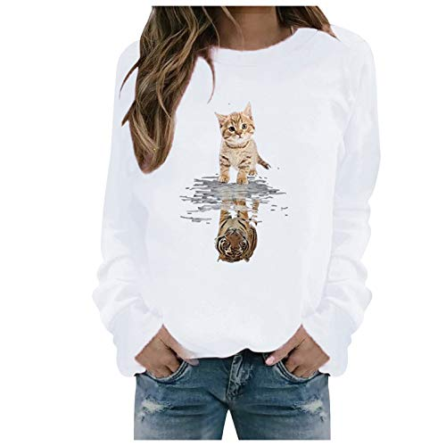 Xmiral Sweatshirt Pullover Damen Langarm Rundhals Gedruckt Lässiger Blusen Oberteile Herbst Winter Lose Warmes Bottoming Shirt(e-Weiß,3XL)