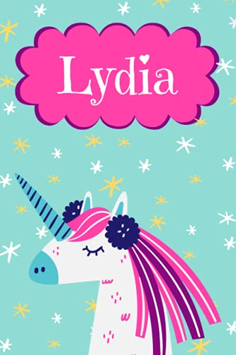 Lydia: Personalised Lydia Notebook/Journal Unicorn Design For Writing 120 Pages