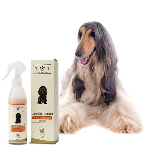 Scioglinodi e Lucidante Naturale per Cani, 250ml - con Ingredienti e Oli Vegetali - Aiuta a Districare i Nodi e Lucida Il Pelo - Adatto per Tutti Tipi di Pelo, Linea 101