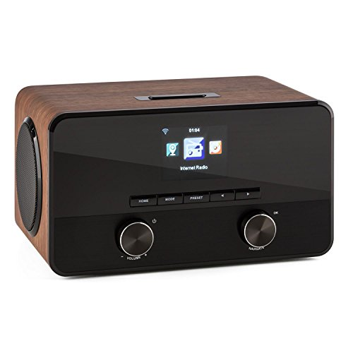 AUNA Connect 100 WN - radio internet - radio WLAN - Network player - interfaccia Bluetooth - Porta USB-MP3-2 amplificatori banda larga - impiallacciatura in legno - nocciola