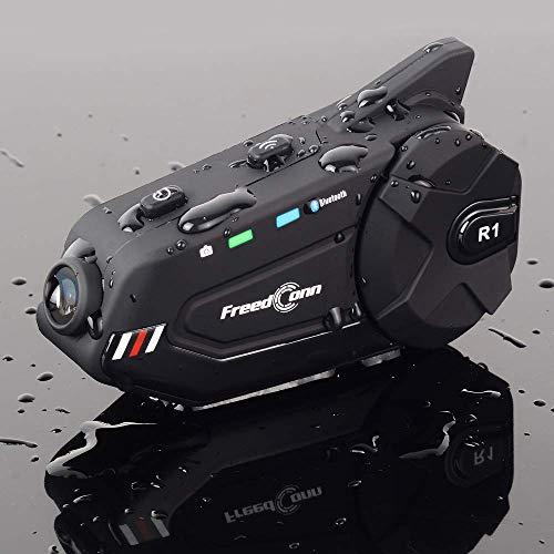 EuroFone Audífonos Bluetooth para motocicleta, grupo de intercomunicador y grabadora WiFi, compatible con 6 pilotos inalámbricos de 1000 m con radio FM (1 paquete)
