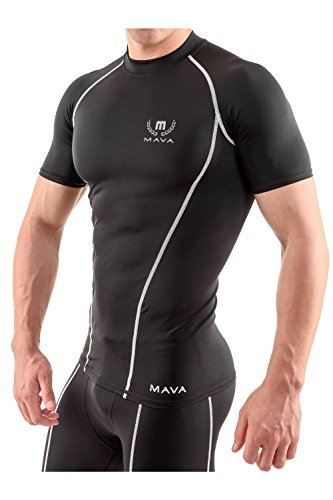 Mava Sports Compression Short Sleeve Shirt for Men - Baselayer Athletic Workout T-Shirt for Gym Workout, Bodybuilding, Crossfit, Fitness, Running and Weightlifting - Black