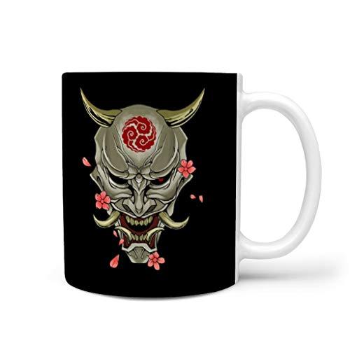 CCMugshop Divertida taza de café japonesa de cerámica Hanya Oni Nubes Impresión Fantasía Blanco Taza de té Taza de té Taza de colega, blanco, 330 ml