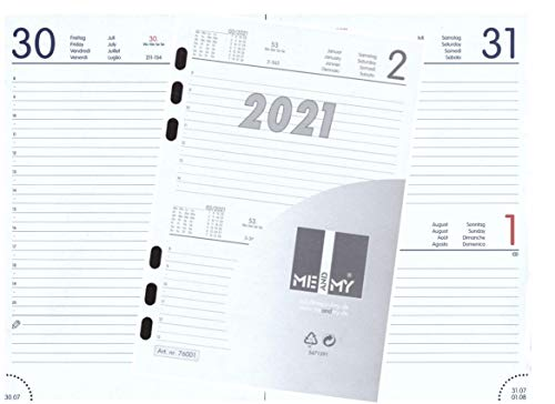 Kalendereinlage TAGES-Kalender 2021 DIN A5 Für Timer Zeitplaner 1 Tag 1 Seite
