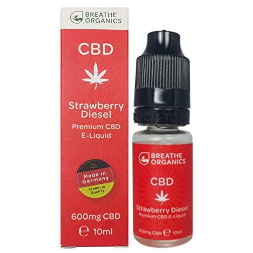 Premium CBD Liquid Strawberry Diesel von Breathe Organics® | E Liquid ohne Nikotin mit 600 mg CBD | 100% natürliche Terpene | Cannabidiol Liquid | VGmax Basis