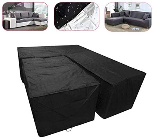 Mirui Outdoor Patio L Shaped Garden Furniture Covers Waterproof Patio Dustproof Outdoor Dining Set Furniture corner Sofa Protector (Color : Black, Size : L eftL200X270Corner)