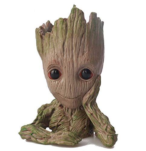 YQF Lindo plantador de Groot para bebé, maceta, árbol hombre, maceta con orificio de drenaje, soporte para lápices para películas al aire libre, figura de hombre árbol (diseño 2)