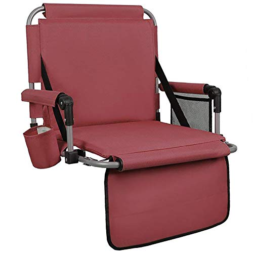 ALPHA CAMP Stadium Seat Padded Chair for Bleachers with Backamp Arm Rest Red