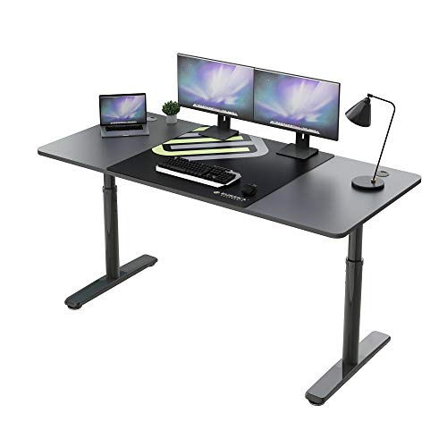 Eureka Ergonomic Computer Desk, 60 inch Adjustable Height Standing Up Desk for Home Office Large Writing PC Desk Modern Simple Table with Free Mouse Pad, Mechanical Adjustment, Black