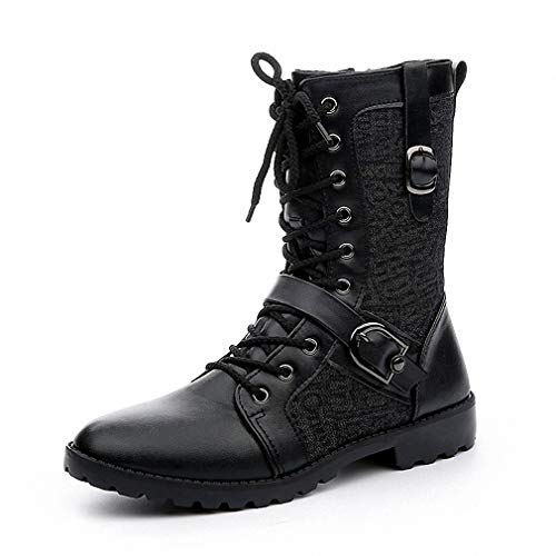 Tebapi Mens Backpacking Boots Autumn Punk Martin Boots Men Fashion Pu Leather Lace-up Motorcycle Boots Black Vintage High Top Buckle Shoes Man Xmx516 Black 9