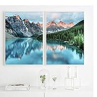 Ipea マウンテンレイクフォレスト風景キャンバス絵画ポスター北欧プリント自然風景壁アート写真家の装飾-50X70Cmx2個フレームなし