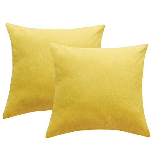 4TH Emotion Outdoor Waterproof Throw Pillow Covers Garden Cushion Case for Patio Couch Sofa Polyester Home Decoration Pack of 2, 18 X 18 Inches Chartreuse